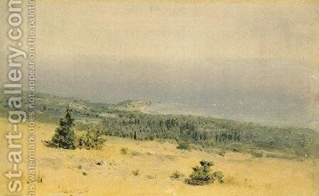 View of the beach and sea from the mountains. Crimea by Arkhip Ivanovich Kuindzhi - Reproduction Oil Painting