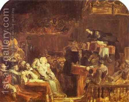 The Preaching of John Knox before the Lords of Congregation, 10 June 1559 2 by Sir David Wilkie - Reproduction Oil Painting