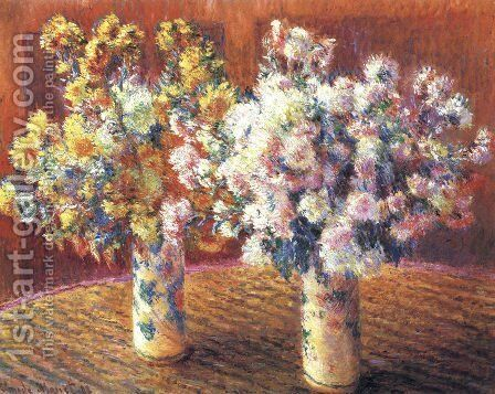 Two Vases with Chrysanthems by Claude Oscar Monet - Reproduction Oil Painting