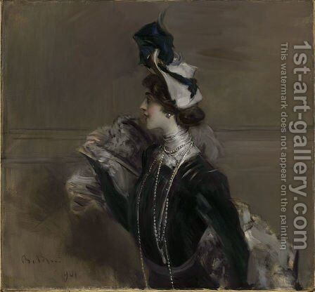 Portrait of Mme. Lina Cavalieri by Giovanni Boldini - Reproduction Oil Painting