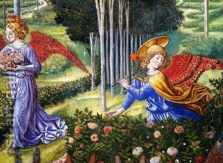 Angel Gathering Flowers in a Heavenly Landscape (detail) by Benozzo di Lese di Sandro Gozzoli - Reproduction Oil Painting
