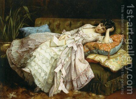 Sweet Doing Nothing by Auguste Toulmouche - Reproduction Oil Painting