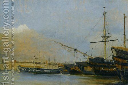 Toulon Battleships Dismantled by Jean-Baptiste-Camille Corot - Reproduction Oil Painting