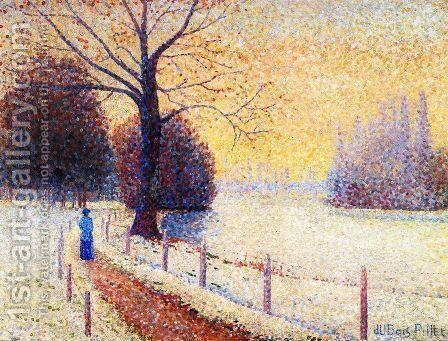 Le Puy in the Snow by Albert Dubois-Pillet - Reproduction Oil Painting