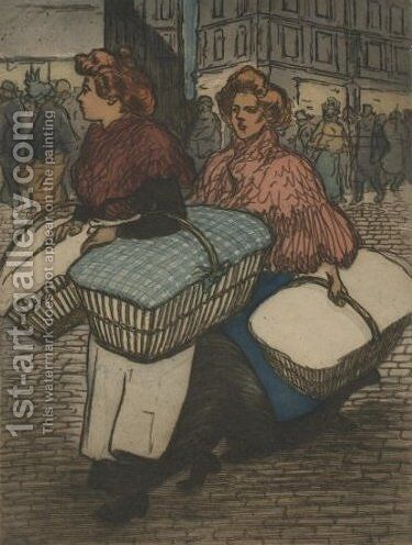 Laundresses are carrying linnen 2 by Theophile Alexandre Steinlen - Reproduction Oil Painting