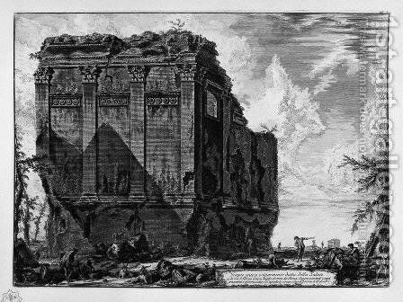 View of the Temple of Hercules in the City of Cora by Giovanni Battista Piranesi - Reproduction Oil Painting