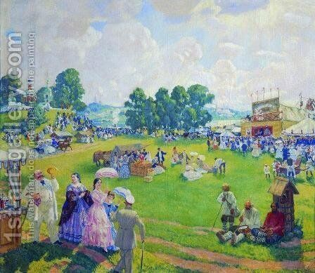 Holiday in the countryside by Boris Kustodiev - Reproduction Oil Painting