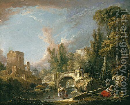 River Landscape with Ruin and Bridge by François Boucher - Reproduction Oil Painting