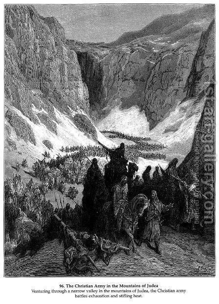 The Christian Army in the Mountains of Judea by Gustave Dore - Reproduction Oil Painting