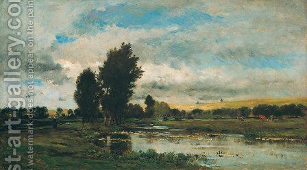 French River Scene by Charles-Francois Daubigny - Reproduction Oil Painting