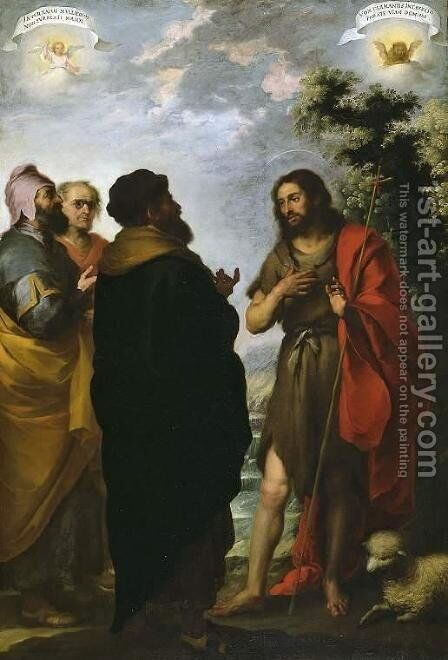 St. John the Baptist with the Scribes and Pharisees by Bartolome Esteban Murillo - Reproduction Oil Painting