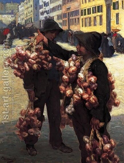 The Onion Sellers by Charles Hermans - Reproduction Oil Painting