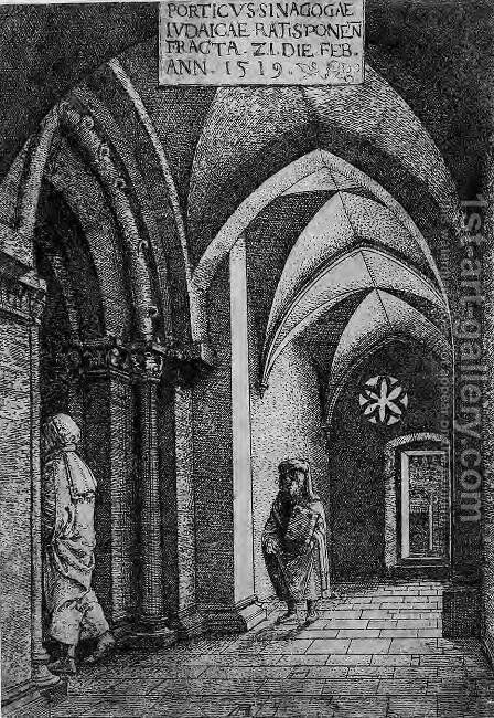 The Entrance Hall of the Regensburg Synagogue by Albrecht Altdorfer - Reproduction Oil Painting