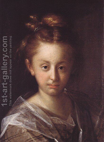 Portrait of a girl (Maria Maxmiliana) by Hans Von Aachen - Reproduction Oil Painting