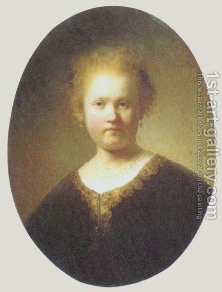 Bust of a Young Woman by Rembrandt - Reproduction Oil Painting