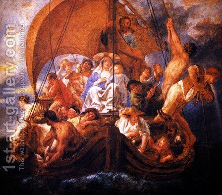 The Holy Family with characters and animals in a boat by Jacob Jordaens - Reproduction Oil Painting