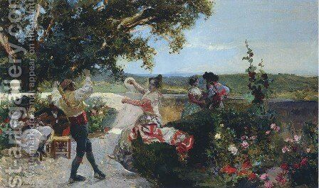 Valencian dance in an orange grove by Joaquin Sorolla y Bastida - Reproduction Oil Painting