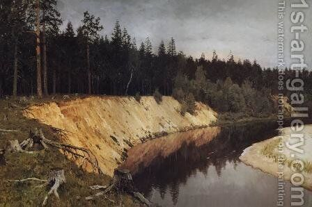 Wooded riverbank. Twilight. by Isaak Ilyich Levitan - Reproduction Oil Painting