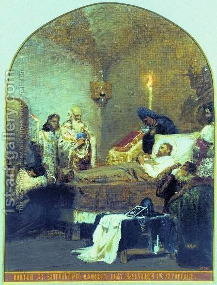The death of Alexander Nevsky by Henryk Hector Siemiradzki - Reproduction Oil Painting