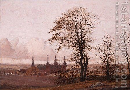 Autumn Landscape, Frederiksborg Castle in the Middle Distance by Christen Kobke - Reproduction Oil Painting