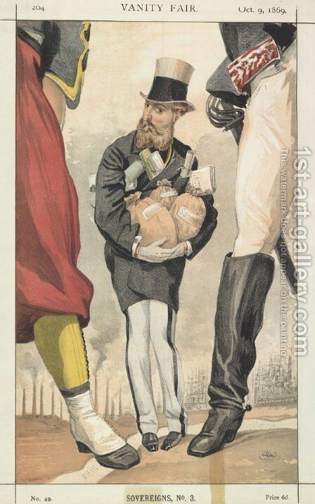 Sovereigns No.30 Caricature of Leopold II of the Belgians by James Jacques Joseph Tissot - Reproduction Oil Painting
