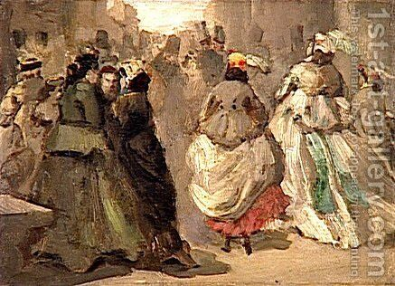 In the Street by Constantin Guys - Reproduction Oil Painting