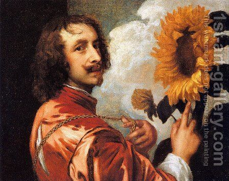 Self portrait with a Sunflower 2 by Sir Anthony Van Dyck - Reproduction Oil Painting