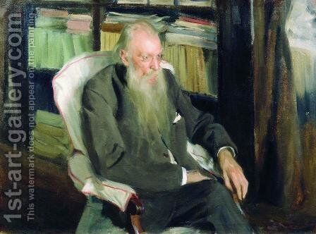 Portrait of the writer D.L. Mordovtsev by Boris Kustodiev - Reproduction Oil Painting