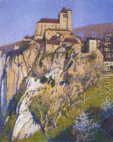 View of Saint Cirq Lapopie by Henri Martin - Reproduction Oil Painting