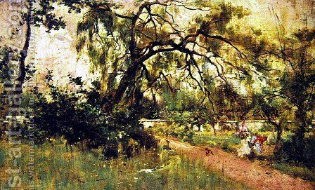 Women's Figures in the Park by Giovanni Boldini - Reproduction Oil Painting