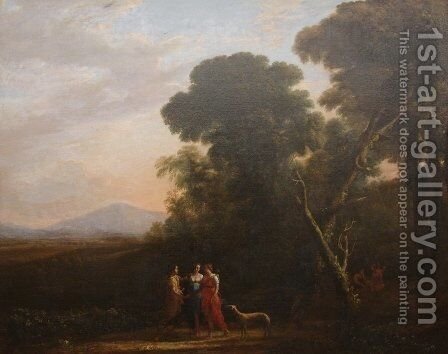 Roman Ideal Landscape with Cephalus, Procris, and Diana by Claude Lorrain (Gellee) - Reproduction Oil Painting