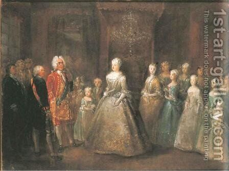 Reception of August the Strong in the Berlin City Palaces by Antoine Pesne - Reproduction Oil Painting