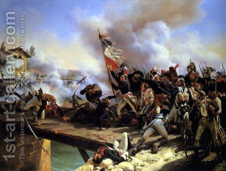 Napoleon Bonaparte leading his troops over the bridge of Arcol by Horace Vernet - Reproduction Oil Painting