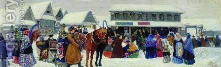 In the Market Day by Boris Kustodiev - Reproduction Oil Painting