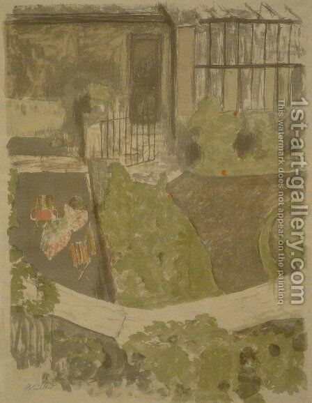The garden outside the workshop by Edouard  (Jean-Edouard) Vuillard - Reproduction Oil Painting