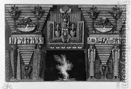 Egyptian-style fireplace, two figures on the right foot, since two mummies by Giovanni Battista Piranesi - Reproduction Oil Painting