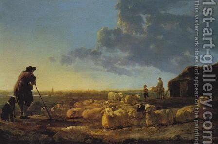 Flock of Sheep at Pasture by Aelbert Cuyp - Reproduction Oil Painting