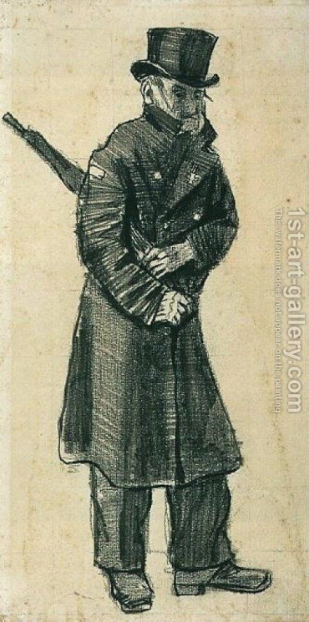 Orphan Man with Top Hat and Umbrella Under his Arm by Vincent Van Gogh - Reproduction Oil Painting
