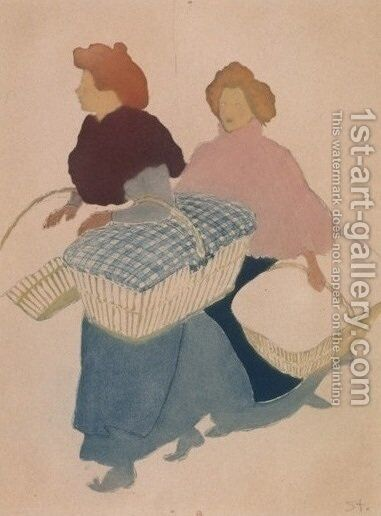 Laundresses are carrying linnen 4 by Theophile Alexandre Steinlen - Reproduction Oil Painting