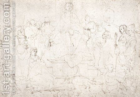 Studies on a great picture of the Virgin   Madonna with child, ten saints and angels by Albrecht Durer - Reproduction Oil Painting