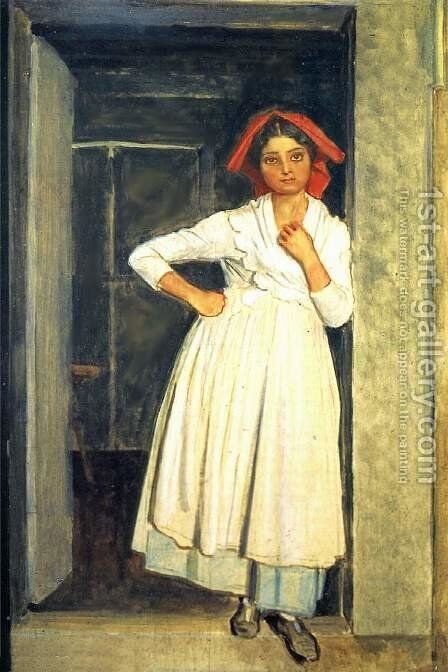 A girl from Albano standing in the doorway by Alexander Ivanov - Reproduction Oil Painting