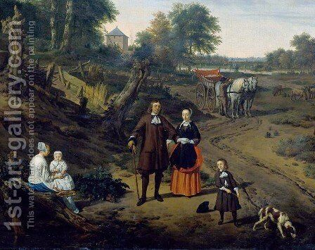 Portrait of a couple with two children and a nursemaid in a landscape (detail) by Adriaen Van De Velde - Reproduction Oil Painting