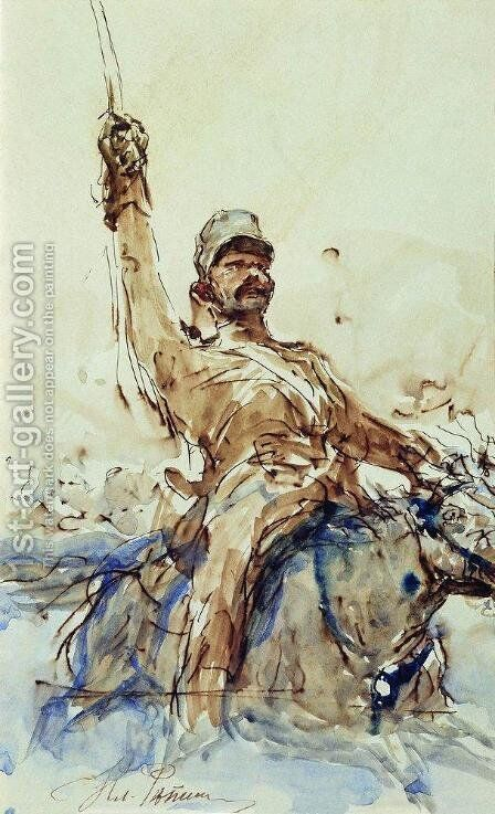 A Rider by Ilya Efimovich Efimovich Repin - Reproduction Oil Painting