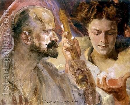 Self-portrait with the muses by Jacek Malczewski - Reproduction Oil Painting