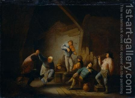Dancing Couple and Merry Company in an Interior by Adriaen Jansz. Van Ostade - Reproduction Oil Painting