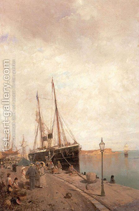 At the dock by Constantinos Volanakis - Reproduction Oil Painting