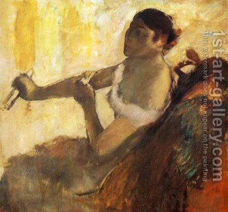 Seated Woman pulling her glove by Edgar Degas - Reproduction Oil Painting