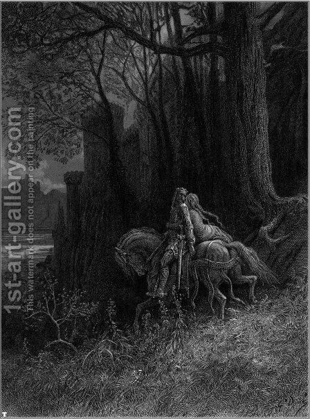 Geraint and Enid Ride Away 2 by Gustave Dore - Reproduction Oil Painting