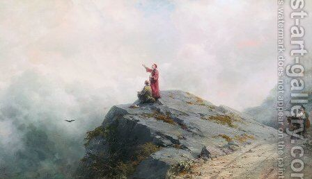 Dante shows the artist in the unusual clouds by Ivan Konstantinovich Aivazovsky - Reproduction Oil Painting