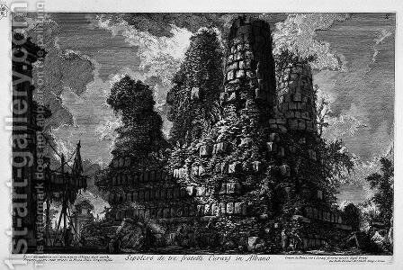 The Roman antiquities, t. 3, Plate X. Tomb of the three brothers in Albano Curiazj. by Giovanni Battista Piranesi - Reproduction Oil Painting